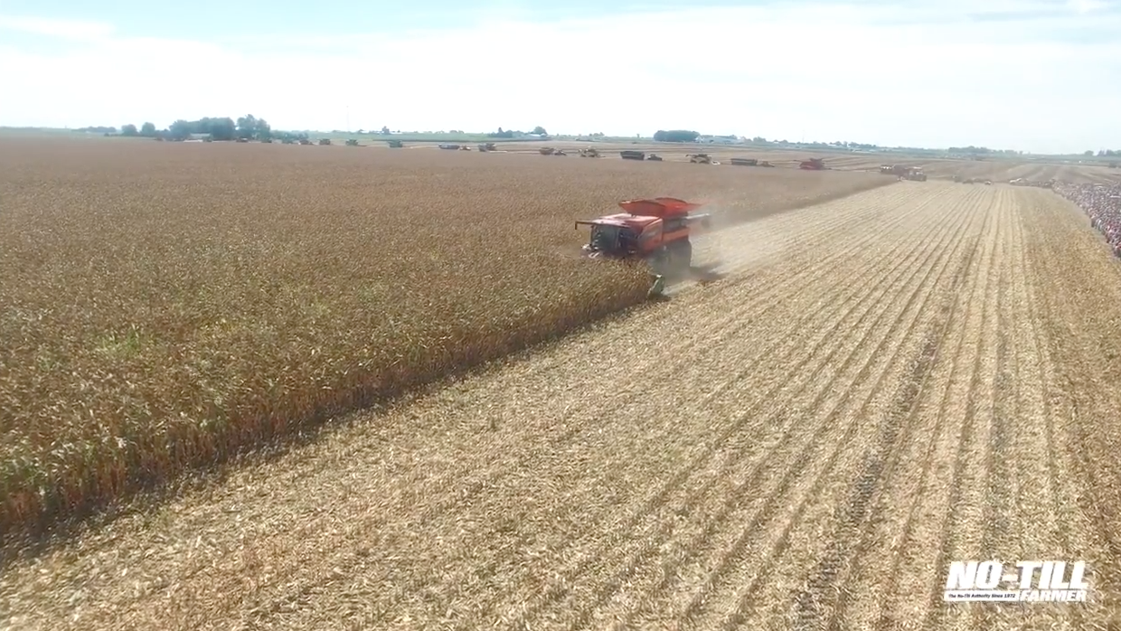 Tribine Harvester Drone Footage from Farm Progress 2016