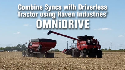 Combine Syncs with Driverless Tractor using Raven Industries' OMNiDRIVE